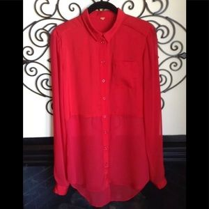 free people red blouse button front tunic size M
